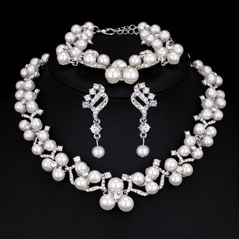Pearl Necklace Earring Bracelet Jewelry Set
