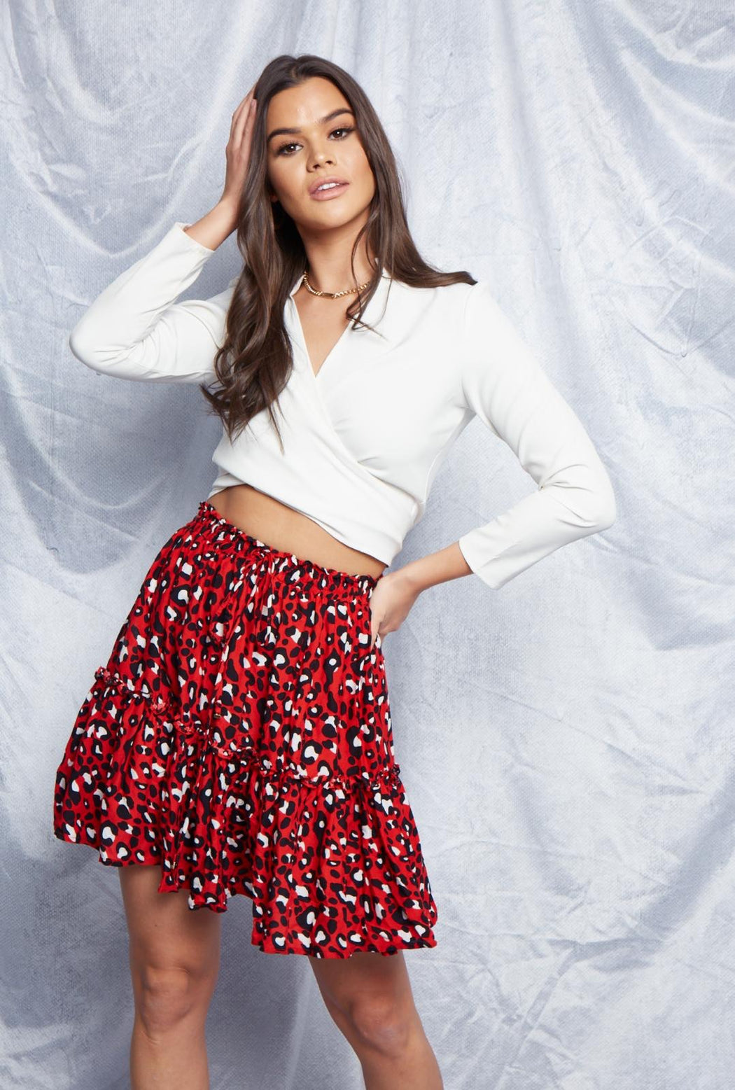 Rene Leopard Skirt | Red