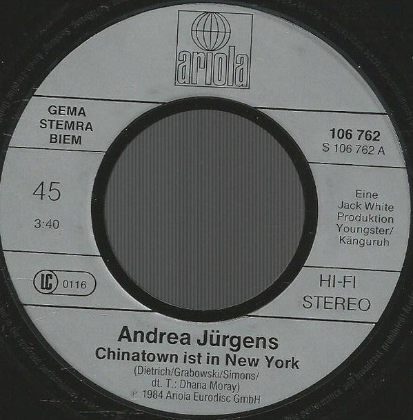 Andrea Jürgens ‎– Chinatown Ist In New York