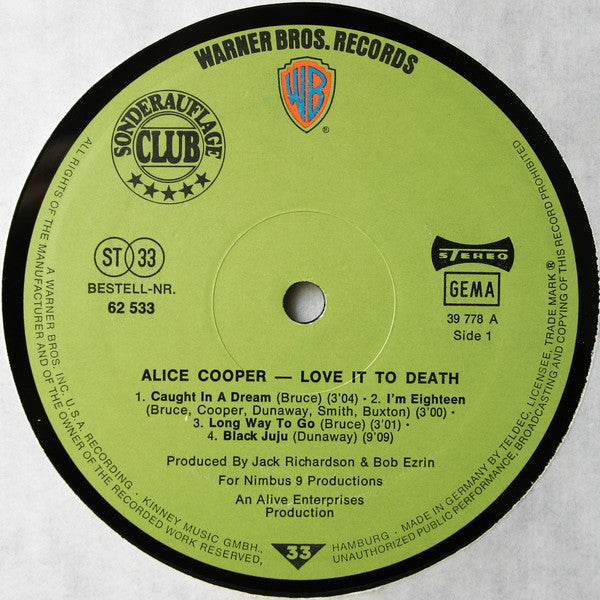 Alice Cooper ‎– Love It To Death