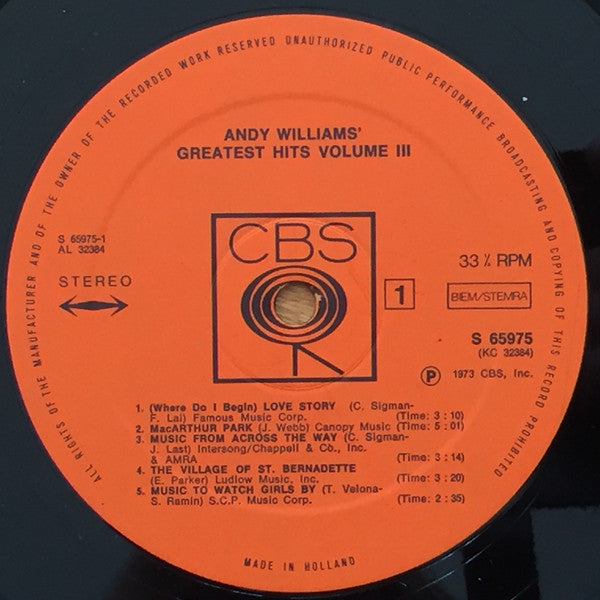 Andy Williams ‎– Greatest Hits Vol. 3
