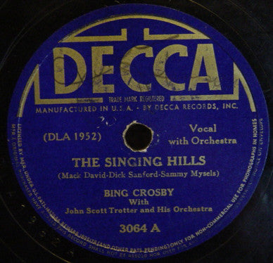 Bing Crosby With John Scott Trotter And His Orchestra ‎– The Singing Hills / Devil May Care
