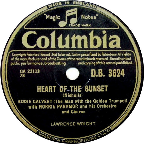 Eddie Calvert (The Man With The Golden Trumpet)* With Norrie Paramor And His Orchestra And Chorus* ‎– Heart Of The Sunset / John And Julie