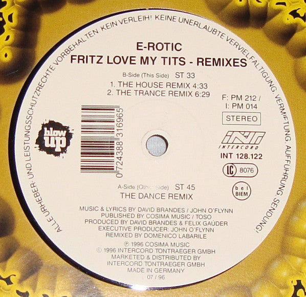 E-Rotic ‎– Fritz Love My Tits (Remixes)