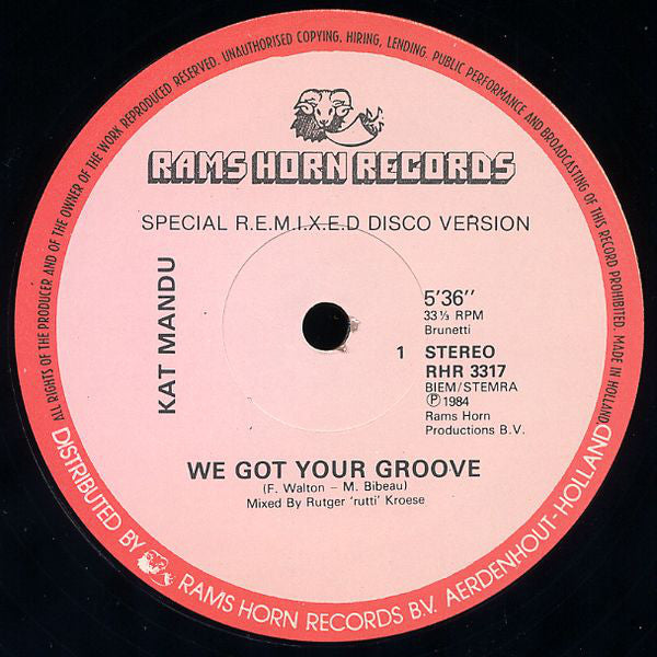 Kat Mandu ‎– We Got Your Groove (Special Remix)