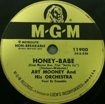 Art Mooney & His Orchestra ‎– Honey-Babe / No Regrets