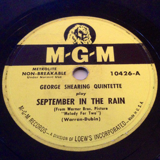 George Shearing Quintette* ‎– September In The Rain / Bop, Look And Listen