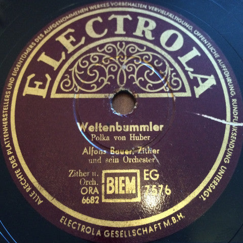 Alfons Bauer, His Zither And Orchestra ‎– Weltenbummler / Münchner Kindl