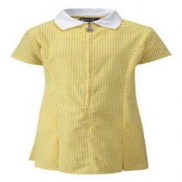 Yellow Plain Gingham Zip Summer Dress