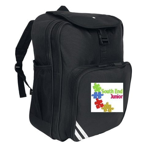 South End Junior Black Backpack with Logo