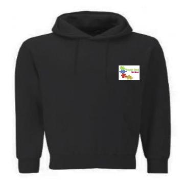 South End Junior Black PE Hoodie with Logo