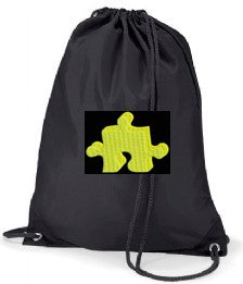 South End Junior Black PE Bag with House Colour Logo