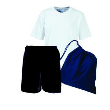 Warwick PE Kit White Teeshirt / Black Shorts and Navy Bag