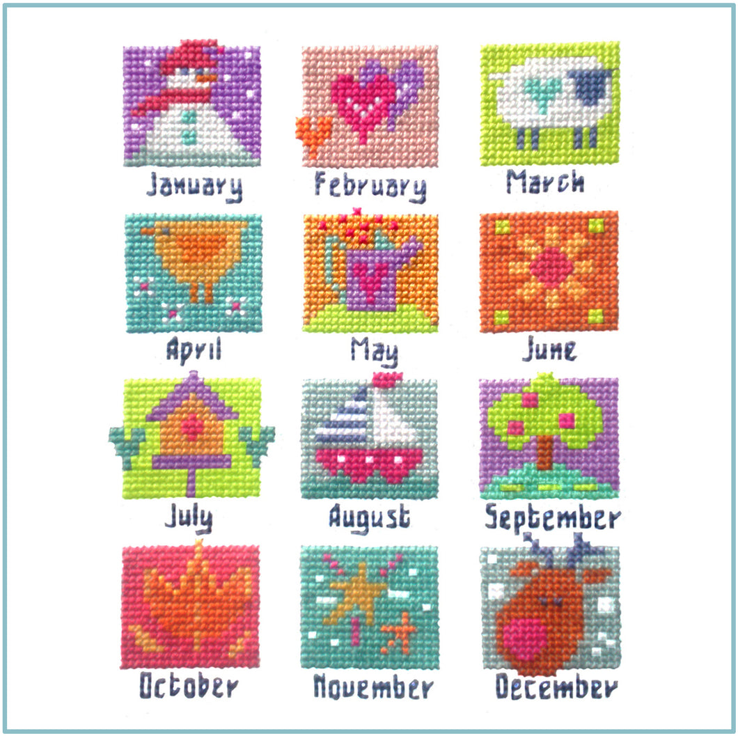 A Year in Stitches Downloadable Black and White chart
