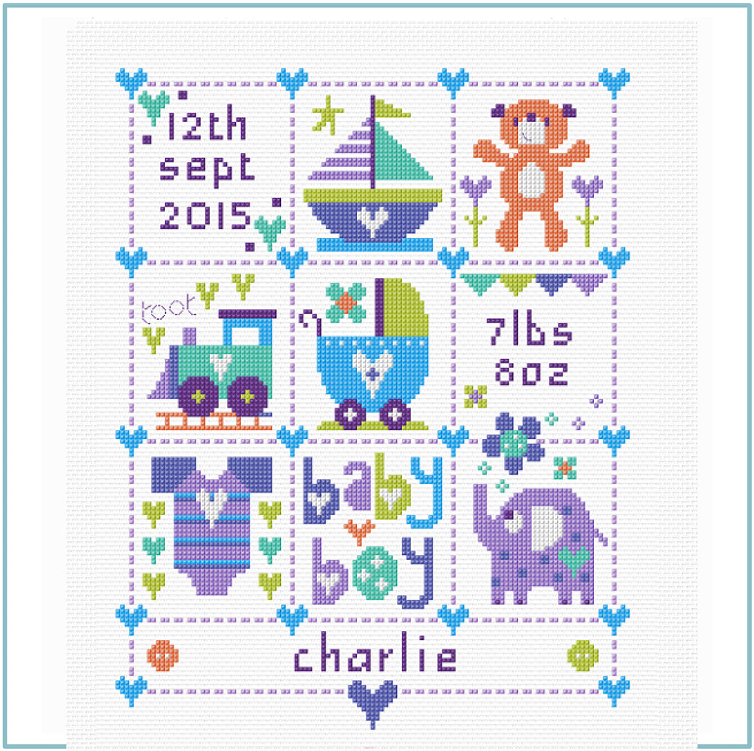 Baby Boy Squares Cross Stitch Kit