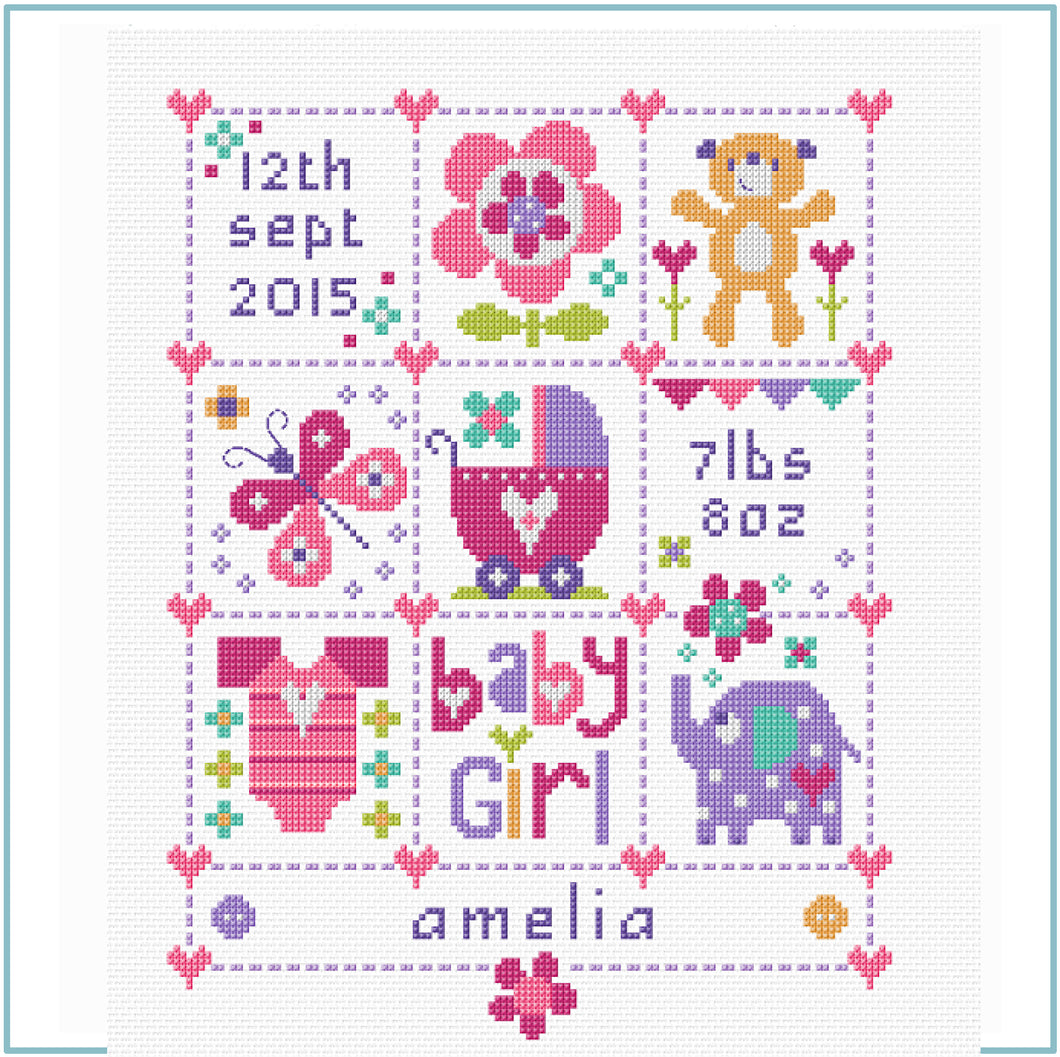 Baby Girl Squares Cross Stitch Kit