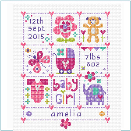 Baby Girl Square cross stitch CHART