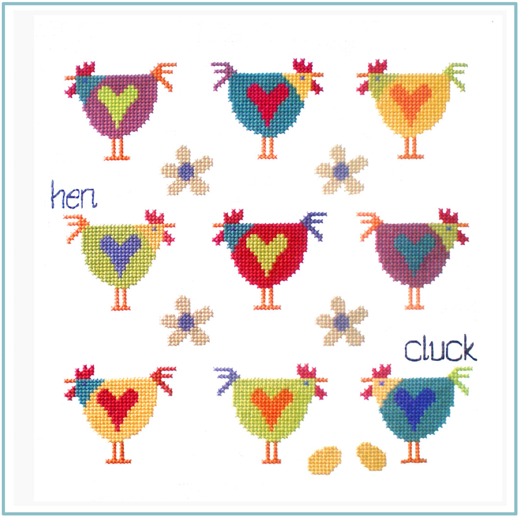 Chicken Sampler Downloadable Black and White cross stitch chart
