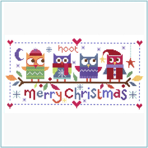 Christmas Owls Downloadable black and white cross stitch chart
