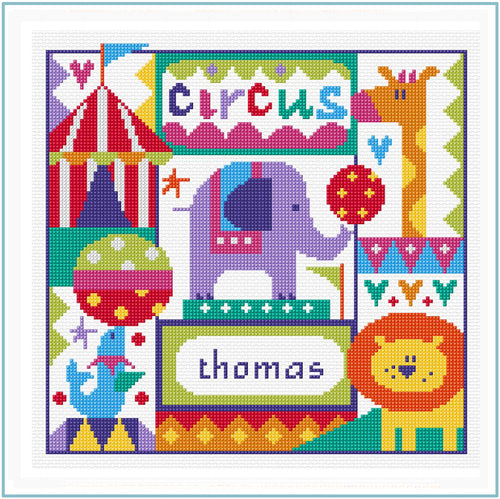Circus Sampler downloadable black and white cross stitch chart