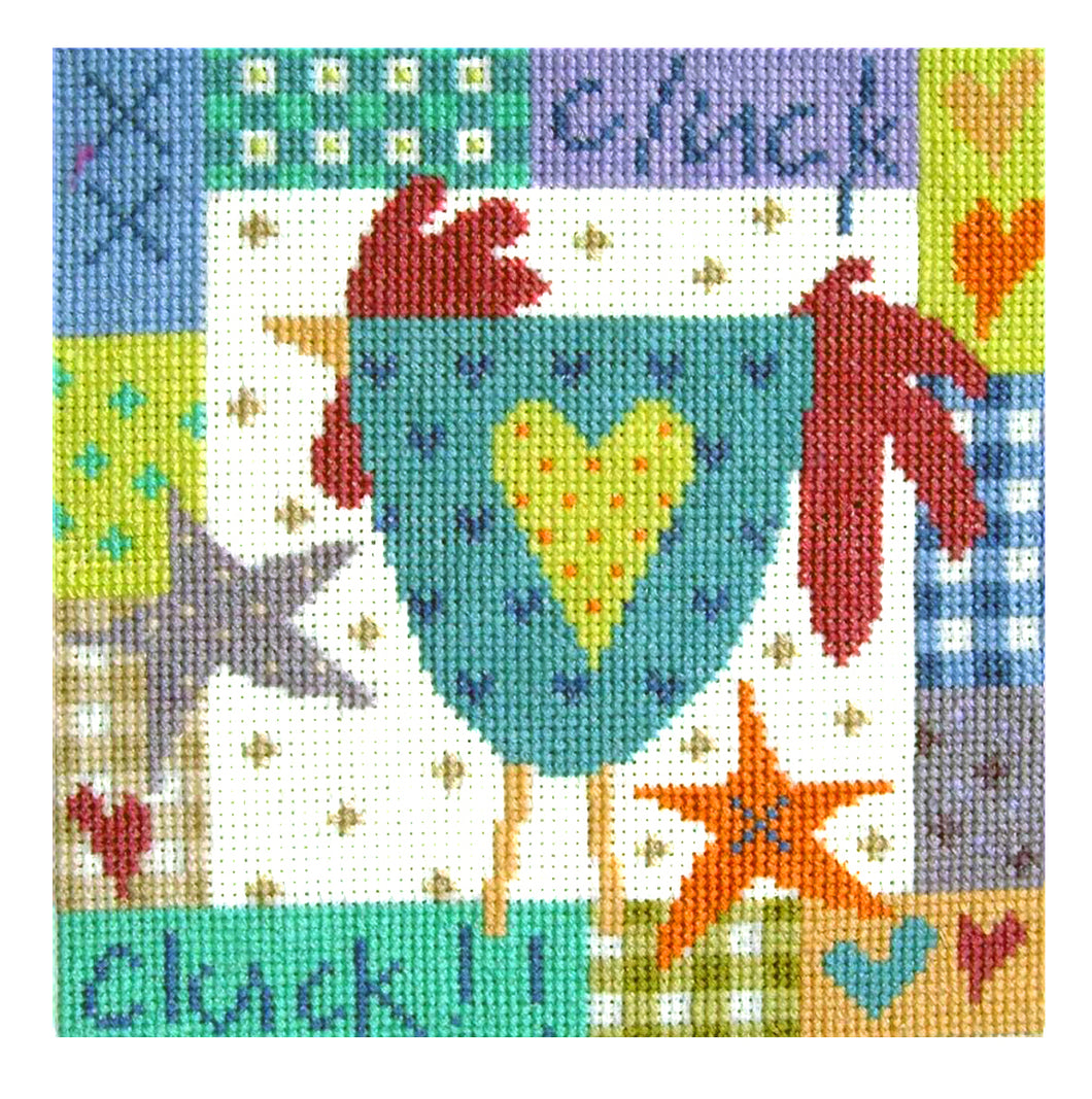 Cluck Cluck downloadable black and white cross stitch chart