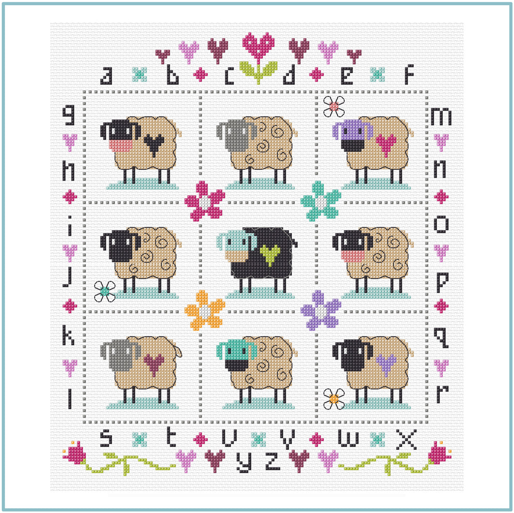 Country Sheep downloadable black and white cross stitch chart