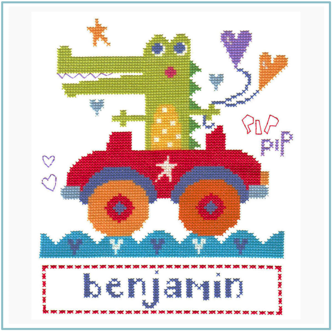Croc and Car downloadable black and white cross stitch chart
