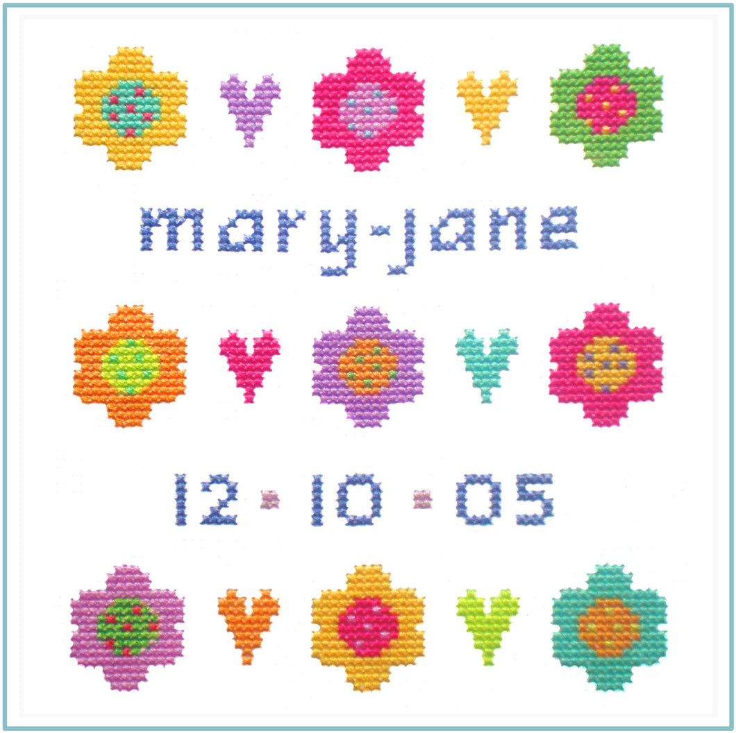 Daisy Sampler downloadable black and white cross stitch chart
