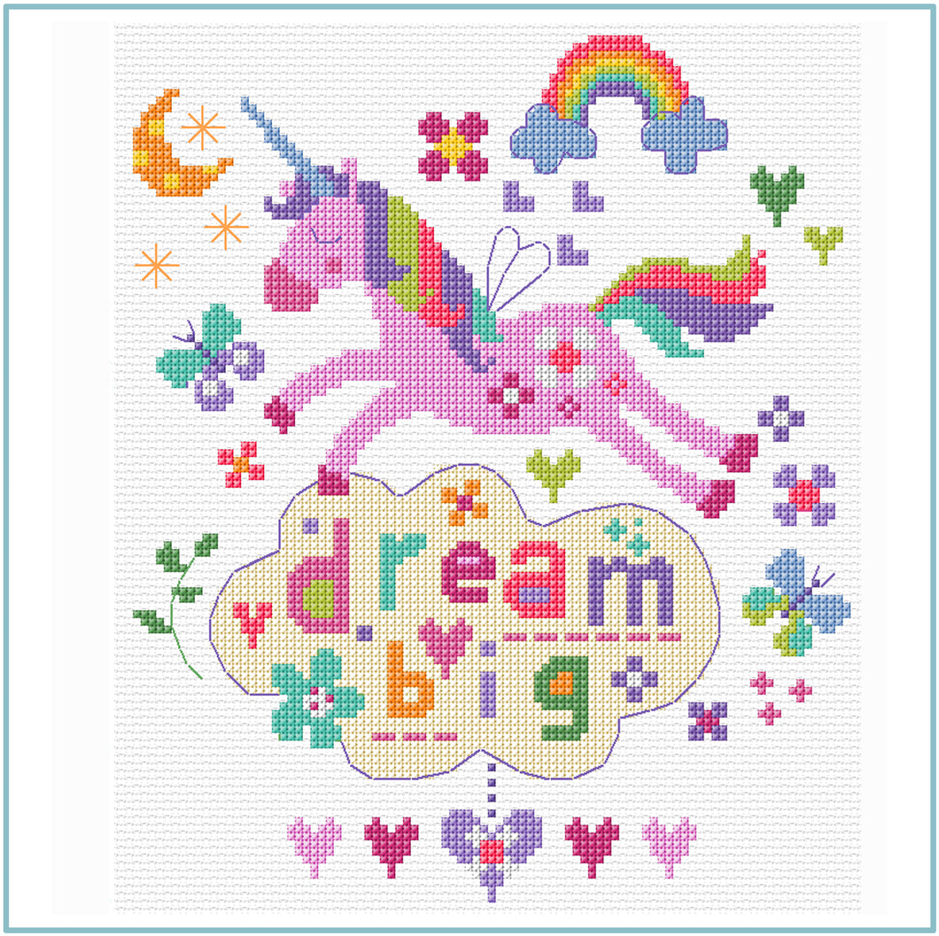 Dream Big downloadable black and white cross stitch chart