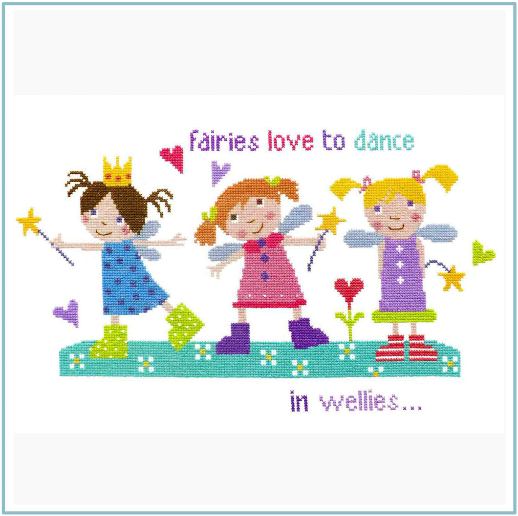 Fairies in Wellies Downloadable cross stitch chart