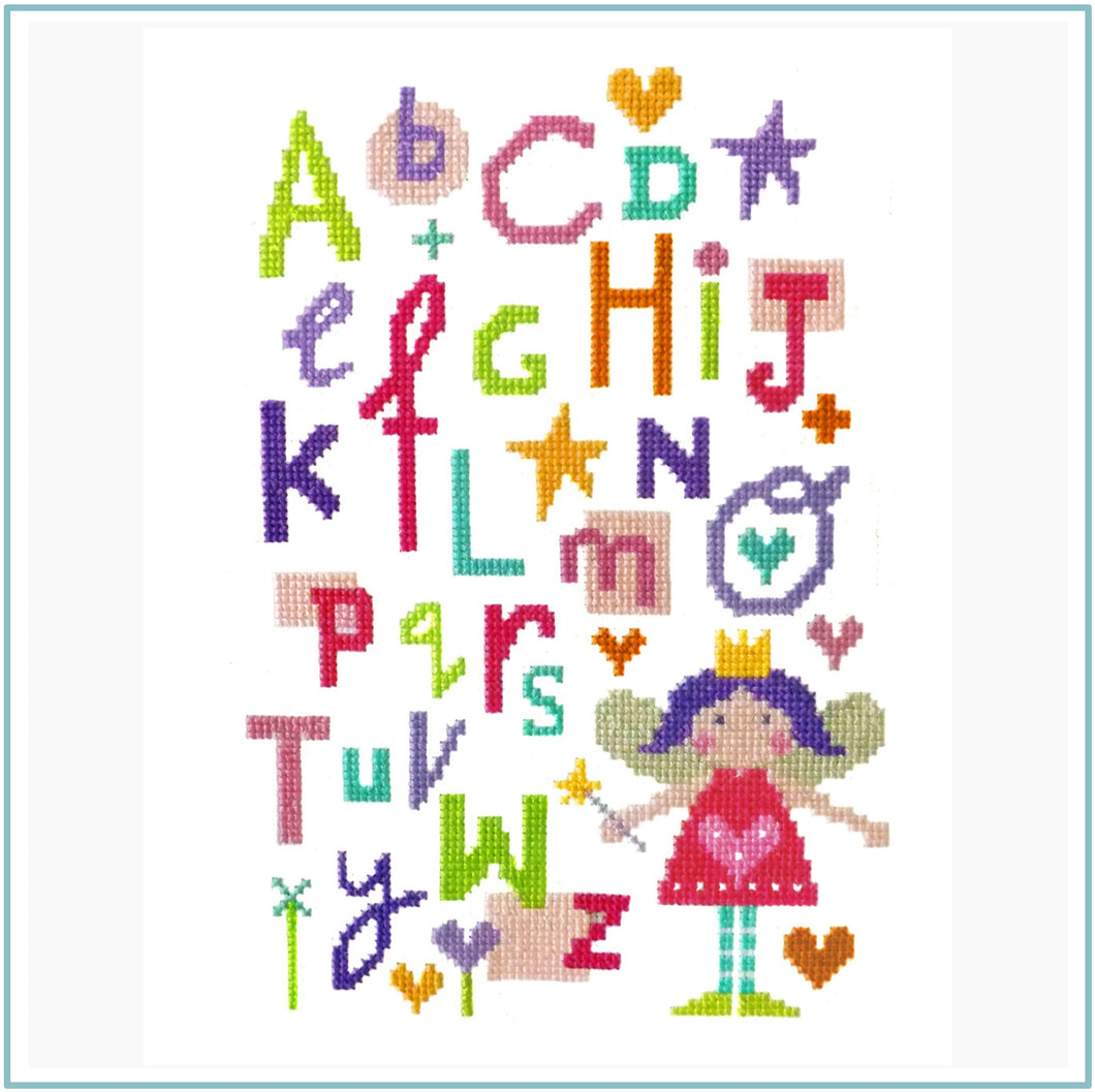 Fairy Alphabet downloadable black and white chart