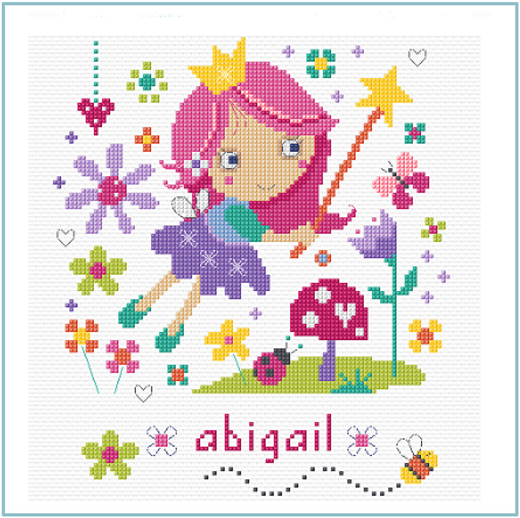 Flower Fairy downloadable black and white cross stitch chart