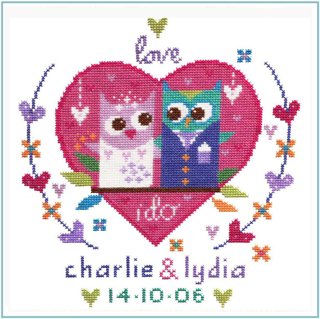 Owl Wedding Sampler Cross Stitch Chart