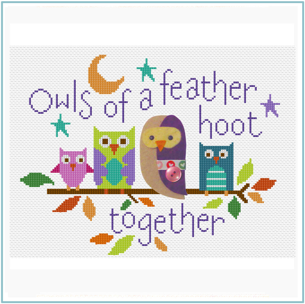 Owls of a Feather Cross Stitch Chart