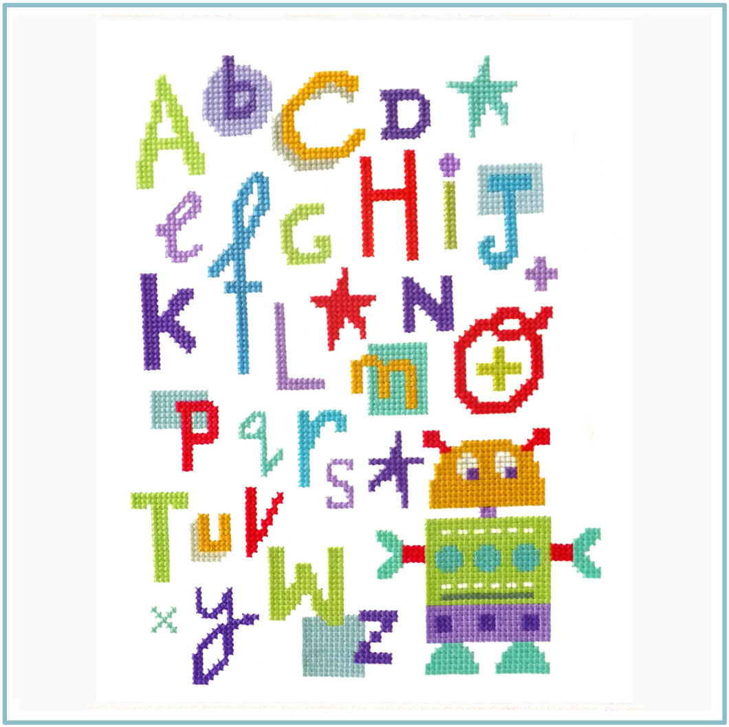 Robot Alphabet Cross Stitch Chart
