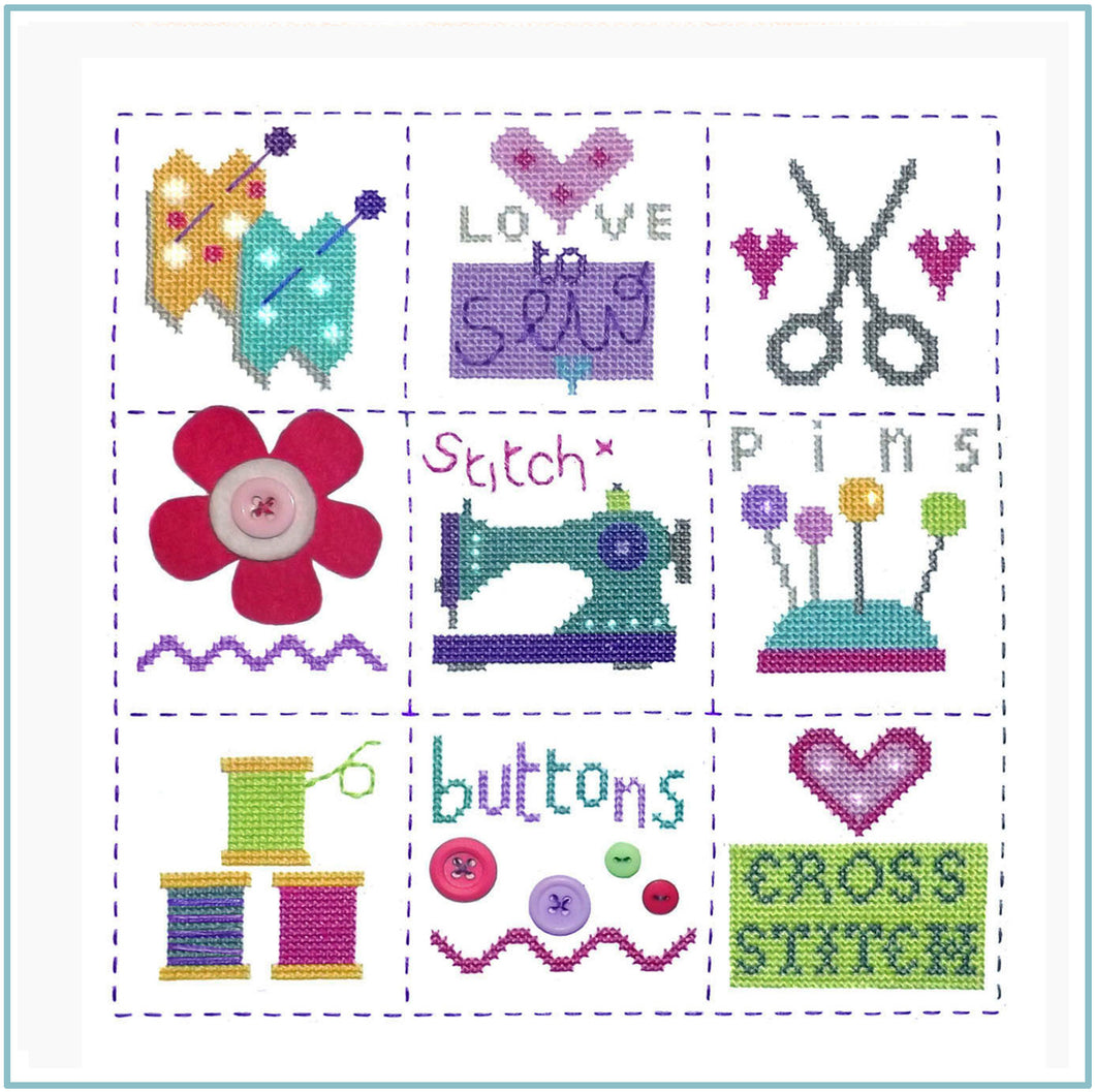 Sewing Sampler Cross Stitch Chart