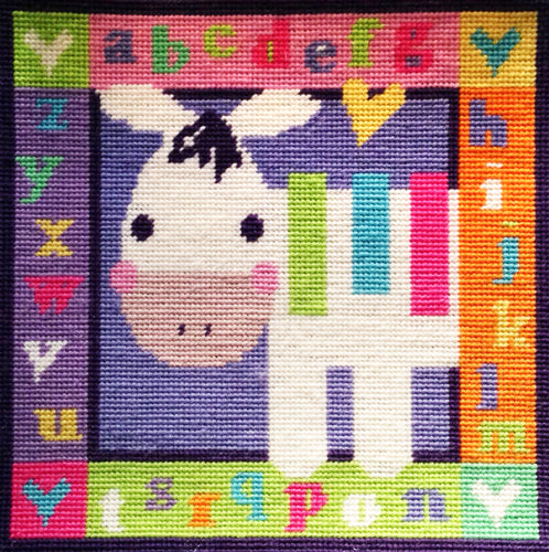 Zebra Alphabet Needlepoint Kit