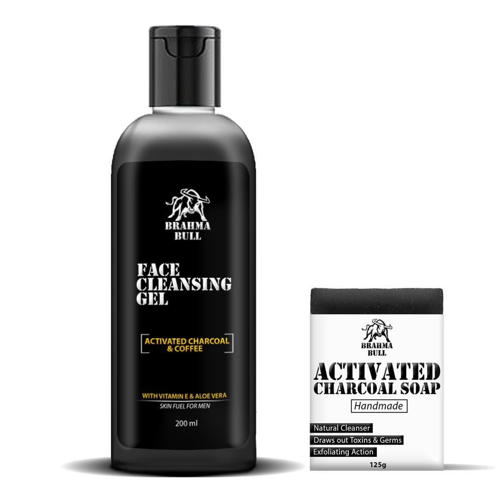 Activated Charcoal Face Gel & Soap - Brahma Bull - Men's Grooming