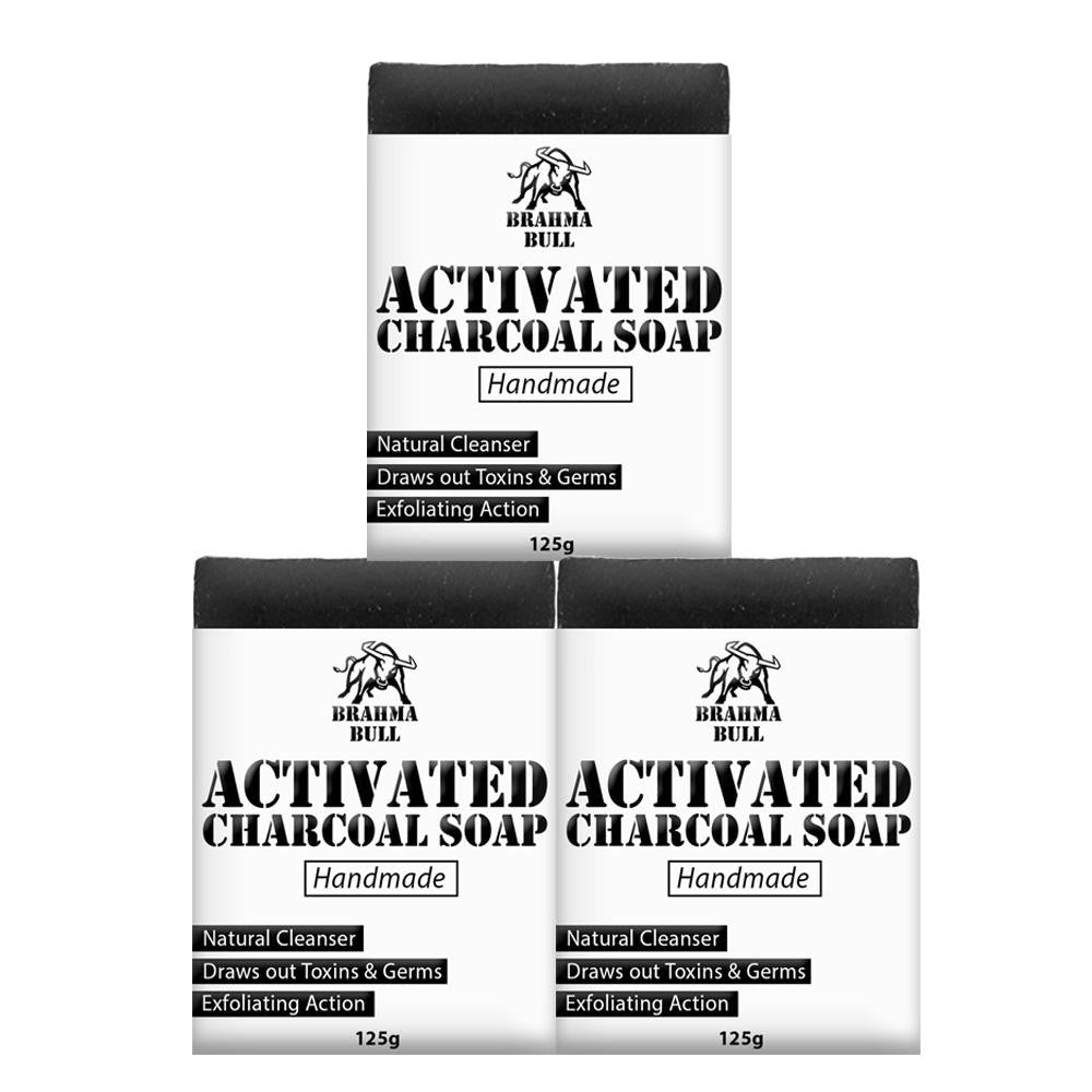 Activated Charcoal Soaps (Pack of 3) - Brahma Bull - Men's Grooming