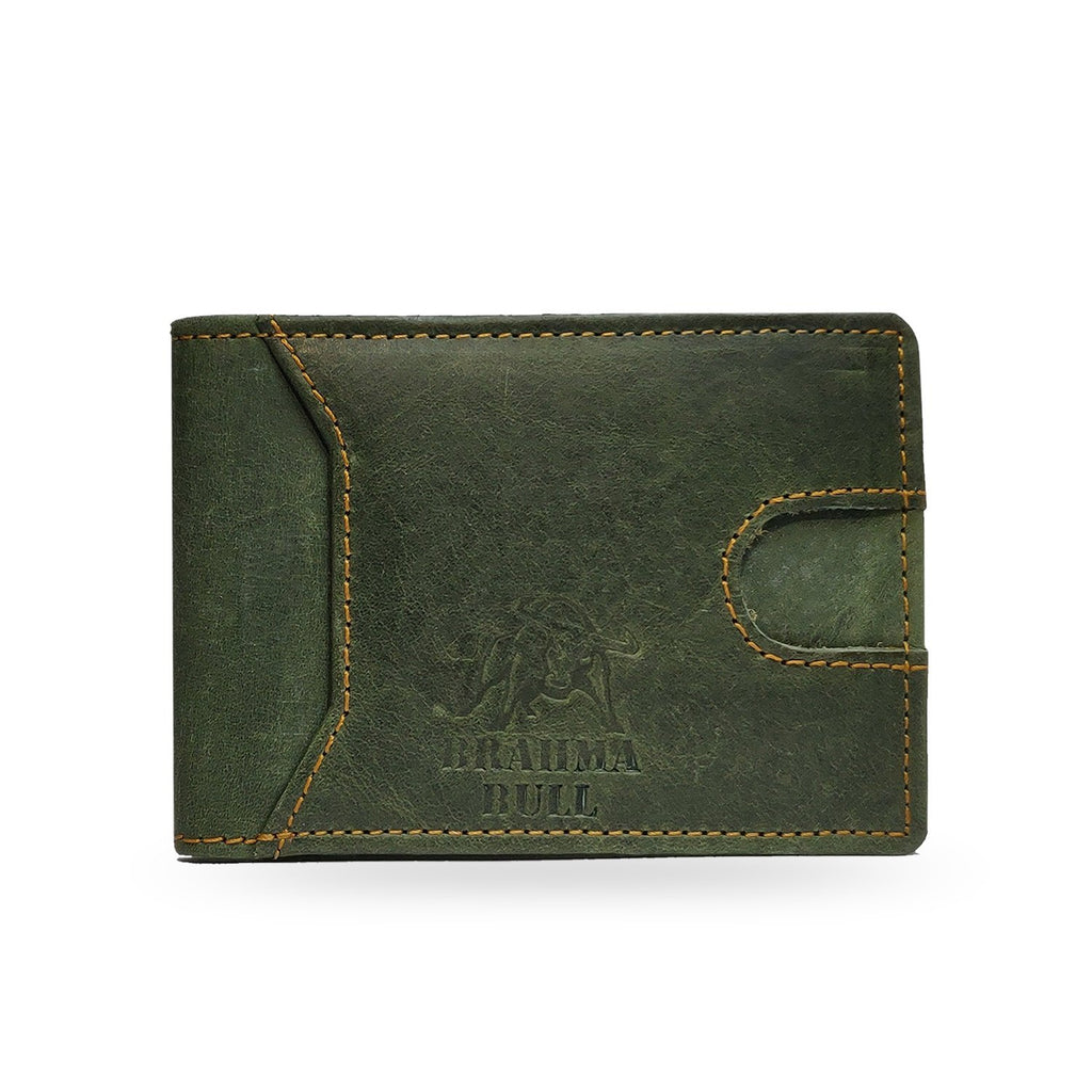 Brahma Bull Slim Edition Multi Purpose Leather Wallet - Green - Brahma Bull