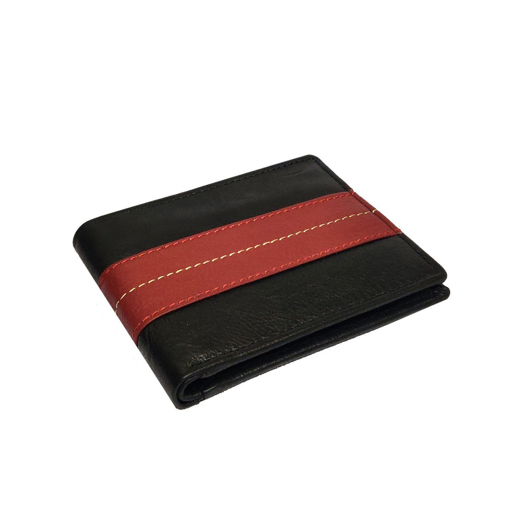Brahma Bull The OG - Red Stripe - Black Leather Wallet - Brahma Bull