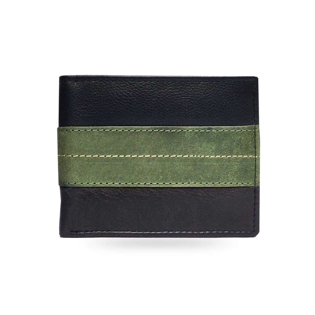 Brahma Bull The OG - Green Stripe - Black Leather Wallet - Brahma Bull