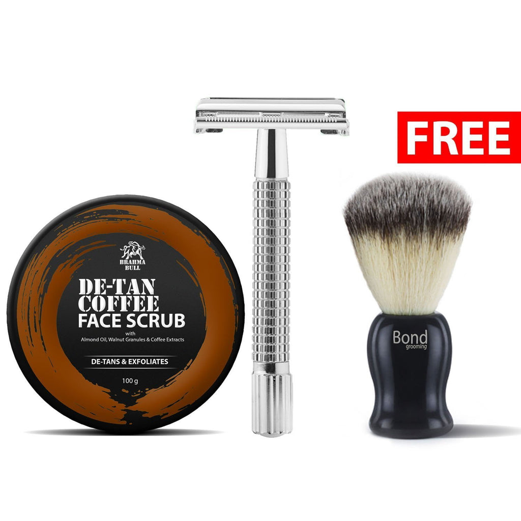 Safety Razor & Scrub with Free Shaving Brush - Brahma Bull - Men's Grooming