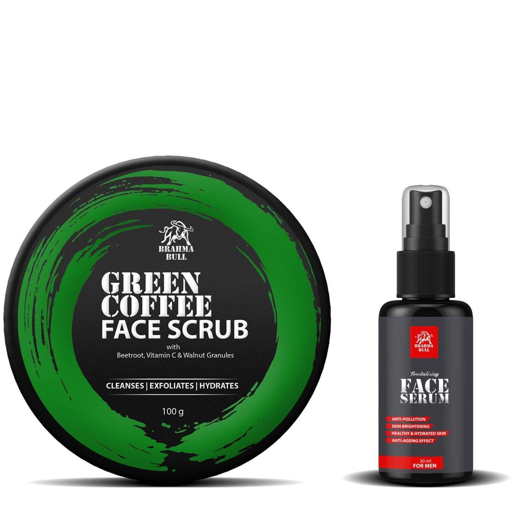 Green Coffee Face Scrub & Serum Combo - Brahma Bull