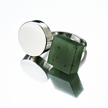 Nephrite Quadratum and Circulus Sterling Silver Ring