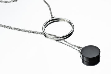 Silver chain necklace with obsidian