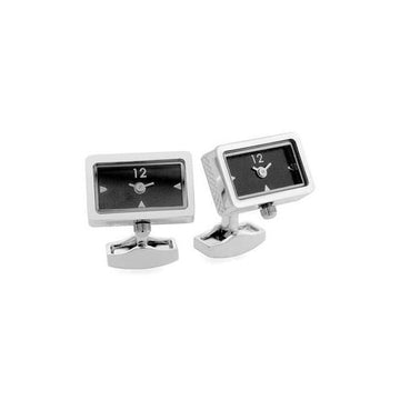 Piccolo Watch Cuff Links w/ Black Guilloche Dial