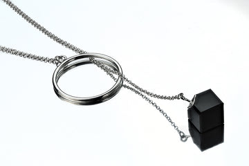Silver chain necklace with a Cube
