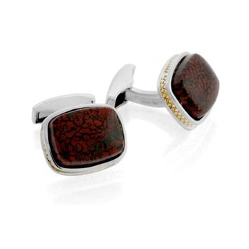 18 karat Gold Silver Spazio and Dinosaur Bone Cufflinks