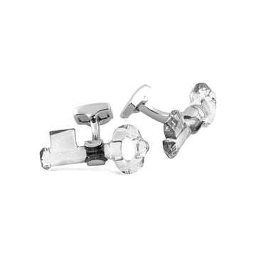 Crystallized Swarovski Key Cuff Links in White